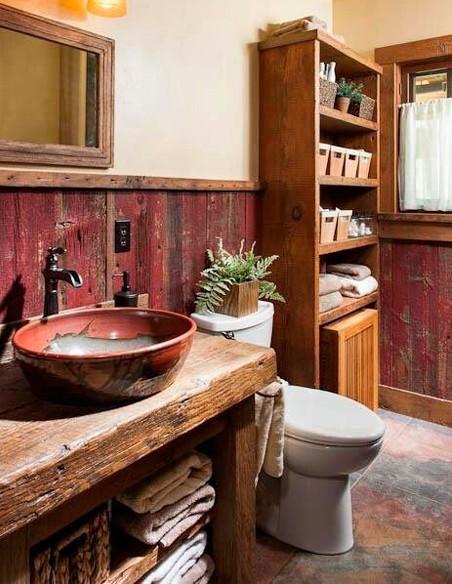 Muebles de baño rústico y natural